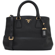 Prada BN2794 Vitello Daino Leather Convertible Shopping Tote Bag- Black