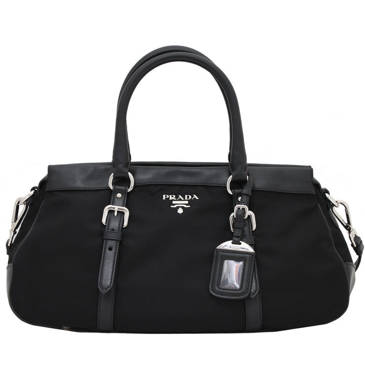Prada BN2032 Tessuto Nylon & Soft Calf Leather Trim Top Handle Convertible Bag- Black (Silver-Hardware)