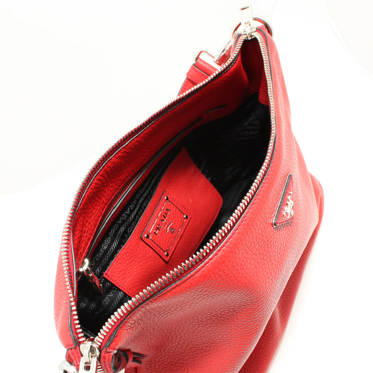Prada BR5122 Vitello Daino Leather Hobo Bag- Red