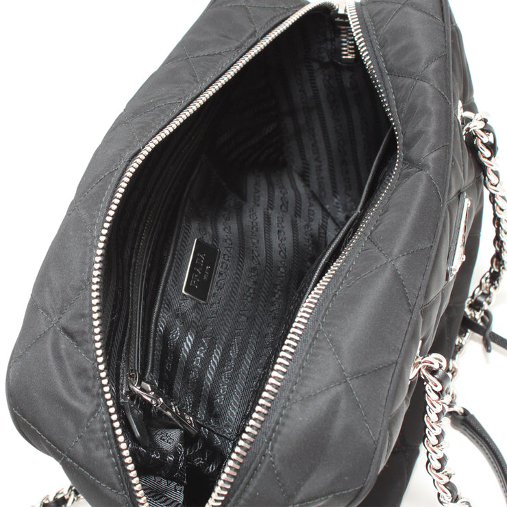 Prada 1BB903 Quilted Tessuto Nylon Shoulder Bag with Chain Accents- Black