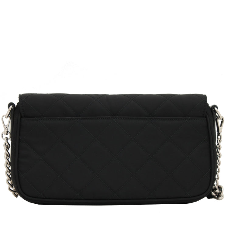 Prada 1BH025 Tessuto Nylon Quilted Convertible Clutch Sling Bag- Black