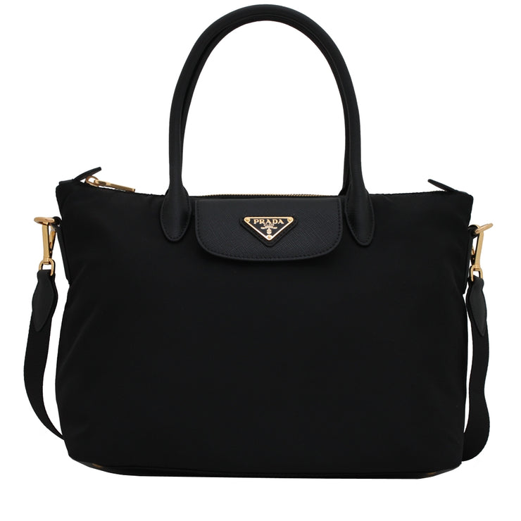 Prada 1BA106 Tessuto Nylon & Saffiano Leather Trim Convertible Bag