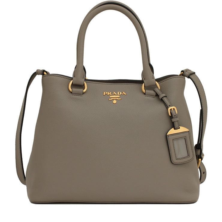 Prada 1BA058 Vitello Phenix Leather Convertible Bag- Argilla