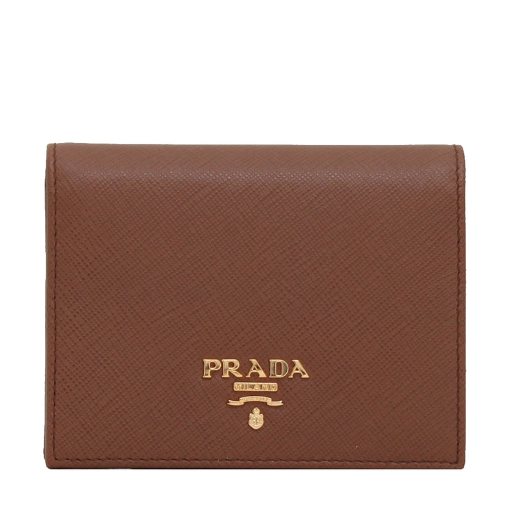 Prada 1MV204 Saffiano Leather Short Bi-fold Clasp Slim Wallet- Cuoio