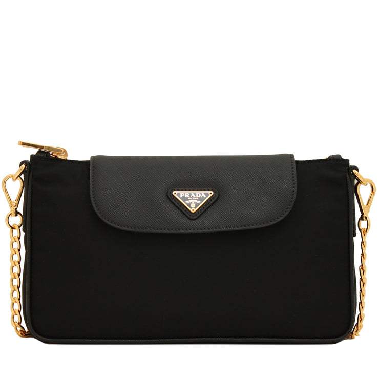 Prada 1BH085 Tessuto Nylon Convertible Clutch Sling Bag