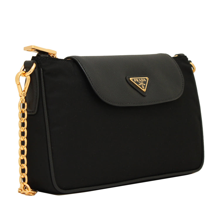 Prada 1BH085 Tessuto Nylon Convertible Clutch Sling Bag- Black