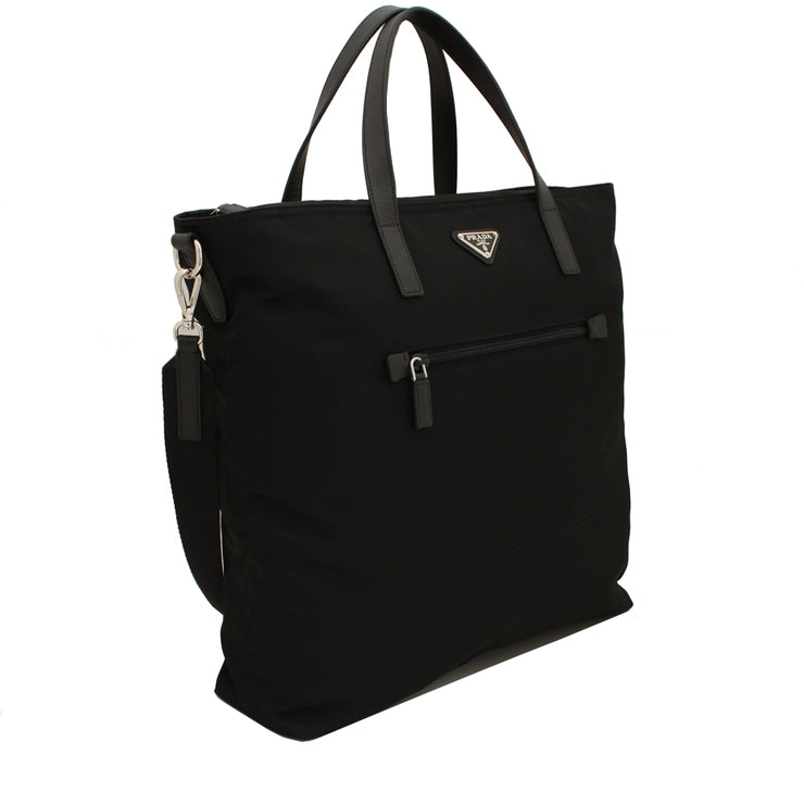 Prada B2530T Tessuto Nylon Convertible Tote Bag- Black