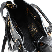 Prada 1BG044 Vitello Phenix Leather Convertible Bag- Black