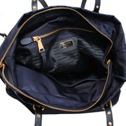 Prada 1BG997 Tessuto Nylon & Saffiano Leather Trim Top Zip Tote Bag- Baltico