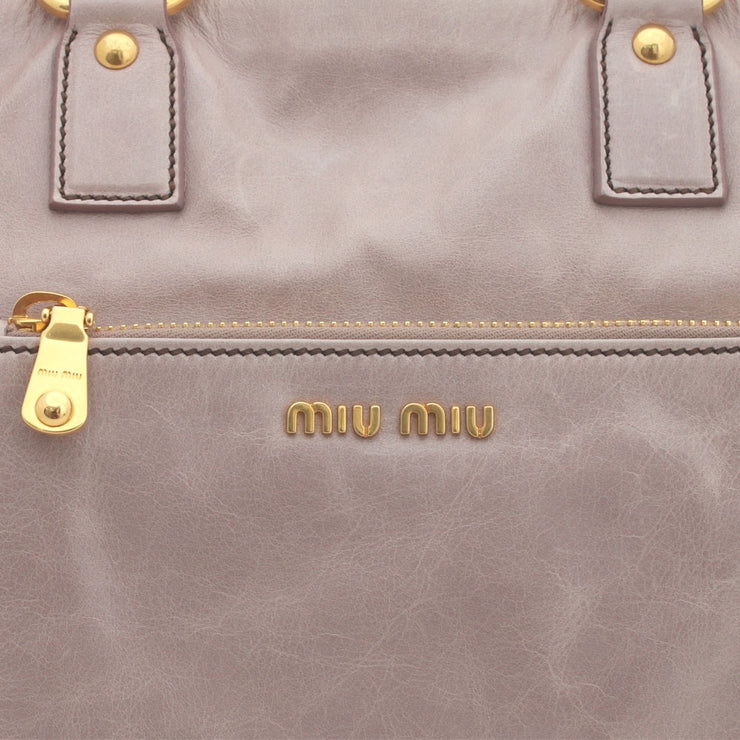 Miu Miu Vitello Shine Leather Tote Bag