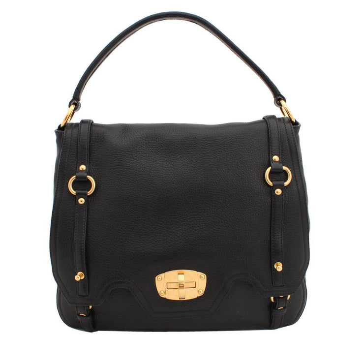 Miu Miu Deerskin Top Handle Hobo Bag with Flap