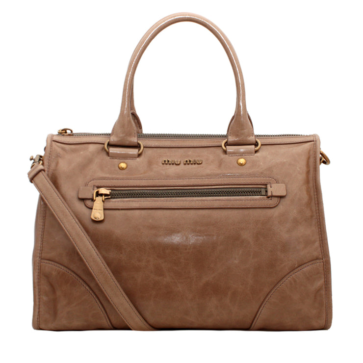 Miu Miu Vitello Shine Leather Convertible Tote Bag- Camel