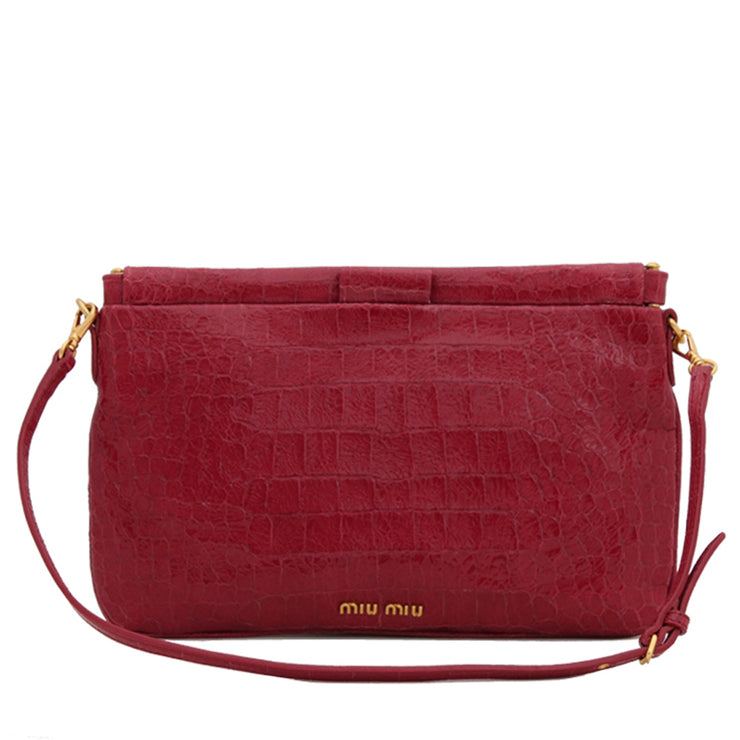 Miu Miu 5N1619 Croc Embossed Patent Leather Clutch Bag- Azalea