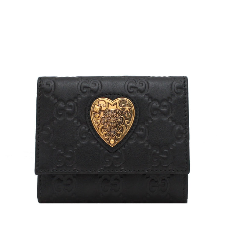 Gucci Ladies' Guccisima Hysteria French Leather Wallet- Black