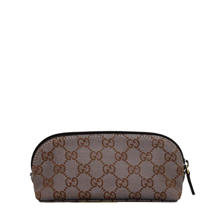 Gucci GG Jaquard Cosmetic Case- Silver Gold