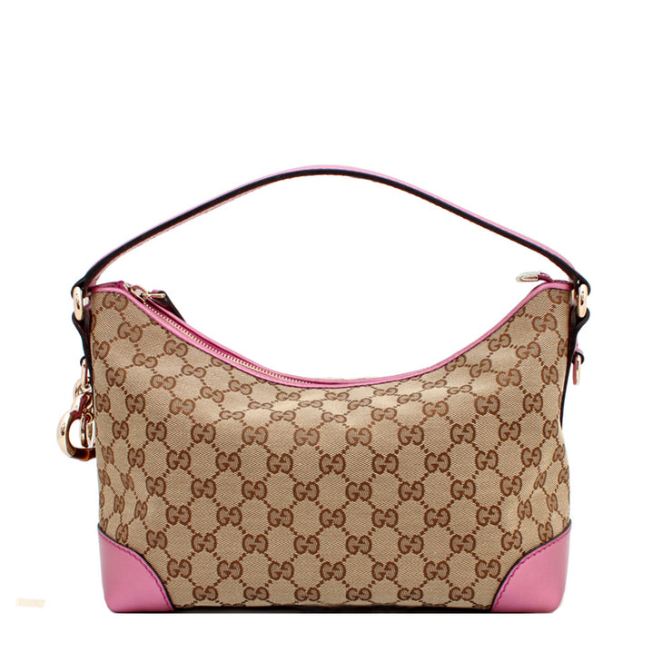 Gucci GG Canvas Heartbit Small Hobo Bag- Pink