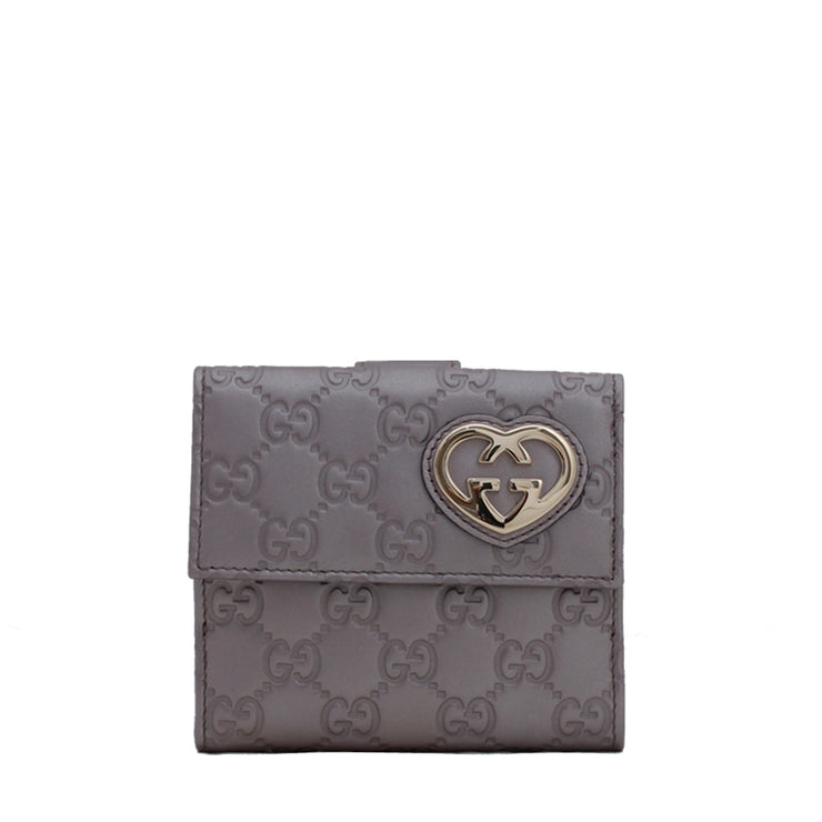 Gucci Heart-Shaped Interlocking G Flap French GG Guccissima Leather Wallet- Lavendar