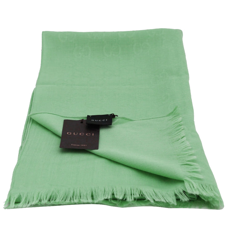 Gucci GG Silk & Wool Slim Scarf- Mint Green