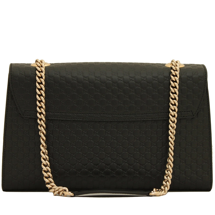 Gucci 449635 Emily Micro-Guccissima Chain Shoulder Bag- Black