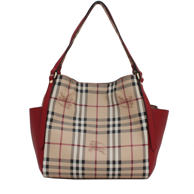 Burberry Haymarket Panels Canterbury Small Tote Bag- Military Red