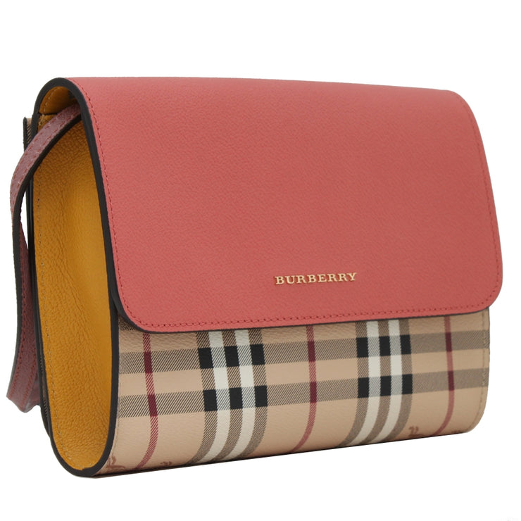 Burberry Haymarket & Leather Loxley Small Clutch- Shoulder Bag- Cinnamon Red