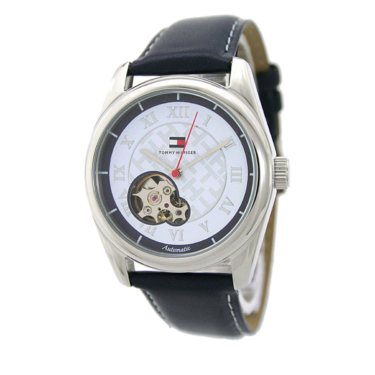 Tommy Hilfiger Ladies' Automatic Navy Blue Leather Watch w White Dial