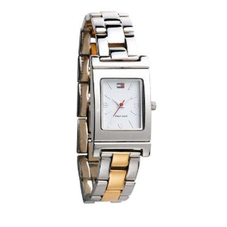 Tommy Hilfiger Ladies' Two-Tone Reversible Bracelet Dress Watch w Rectangular Dial
