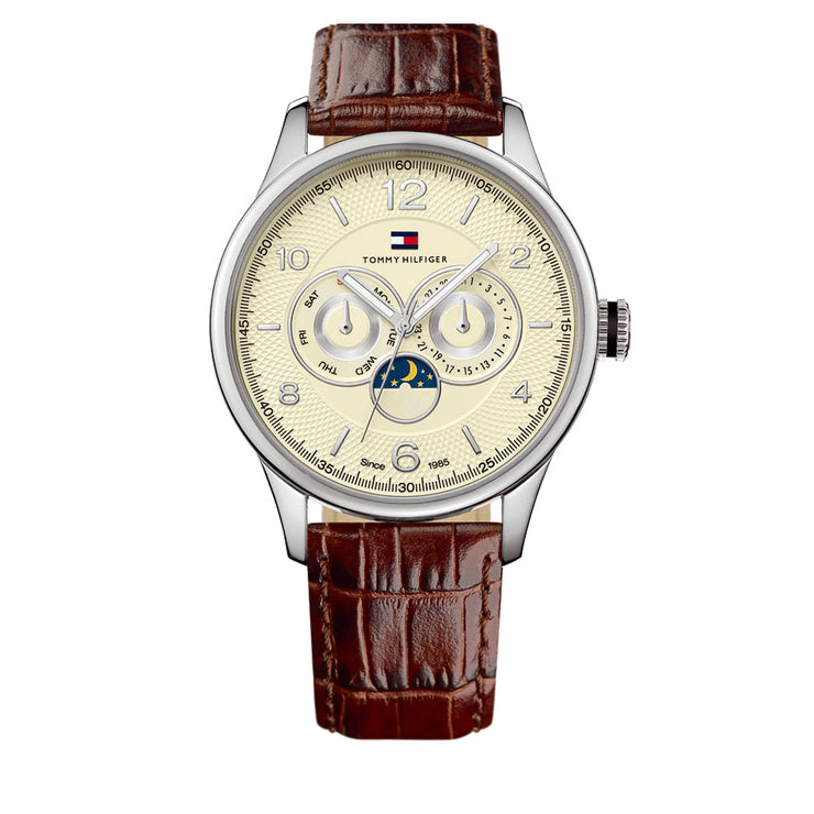 Tommy Hilfiger Men's Brown Croco Embossed Strap Watch w Large Round Beige Dial