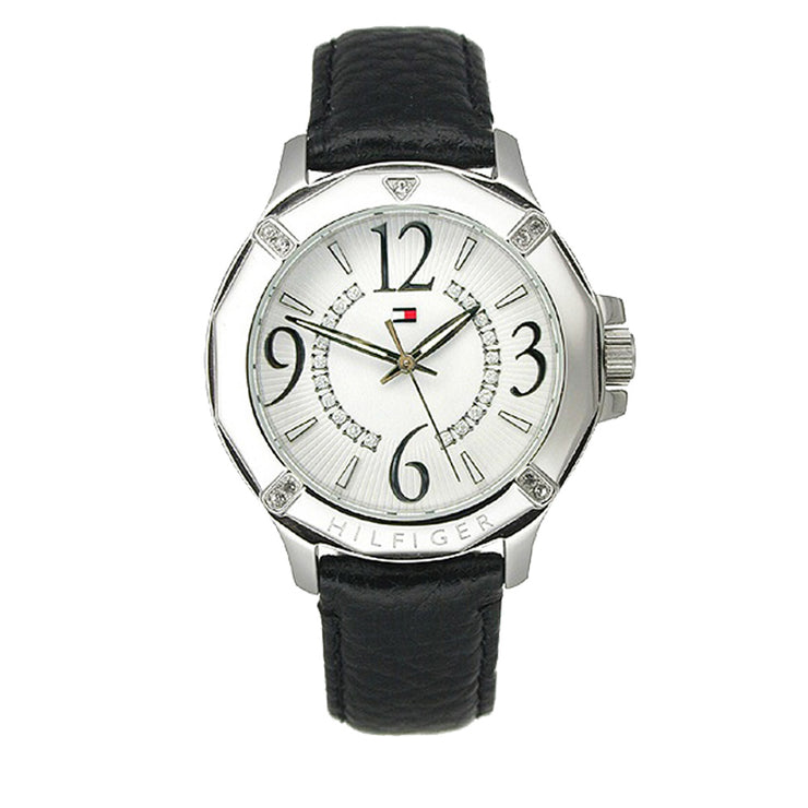 Tommy Hilfiger Ladies' Black Leather Watch w Crystal Accents on Bezel & White Dial
