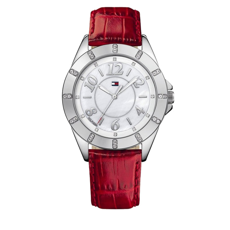 Tommy Hilfiger Ladies' Red Leather Watch w Crystal Bezel & White Dial