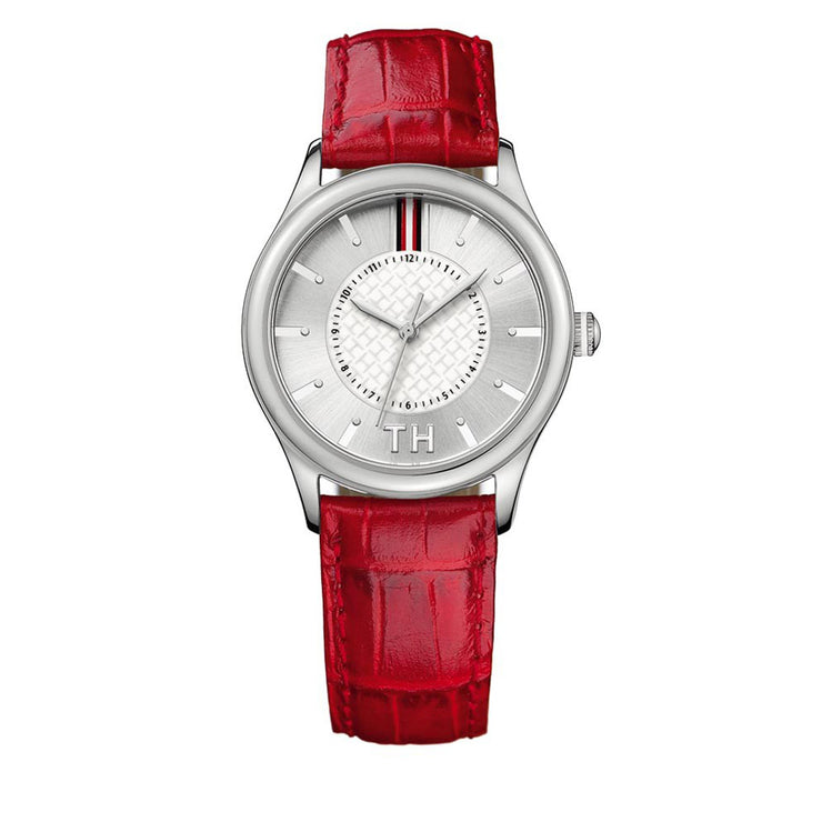 Tommy Hilfiger Ladies' Red Leather Strap Watch w Silver White Dial