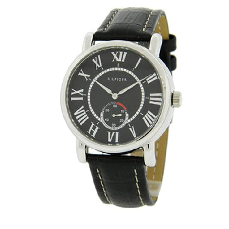 Tommy Hilfiger Mens' Black Leather Watch w Roman Numerals