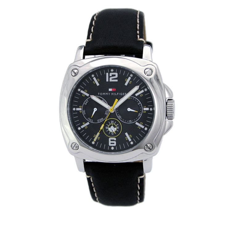 Tommy Hilfiger Mens' Multi-Dial Black Leather Watch