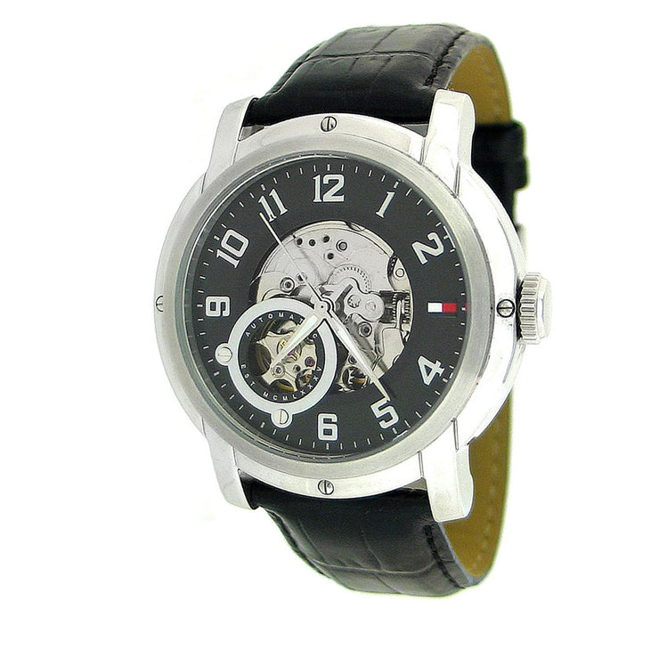 Tommy Hilfiger Mens' Automatic Black Leather Watch w Black Dial