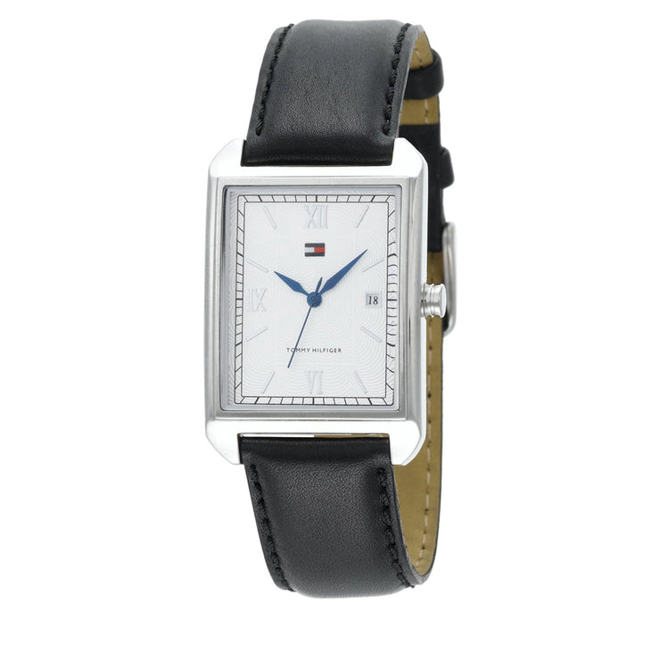 Tommy Hilfiger Mens' Black Leather Strap Classic Watch
