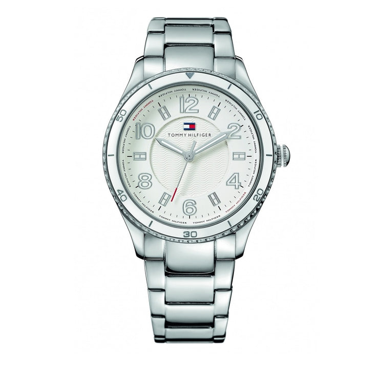 Tommy Hilfiger Watch 1781056- Silver Stainless Steel with White Round Dial Ladies Watch
