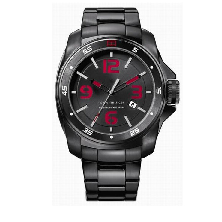 Tommy Hilfiger Men's Black Stainless Steel Watch w Red Accents