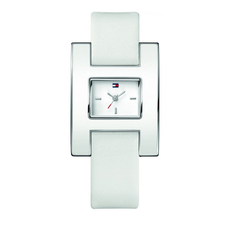 Tommy Hilfiger Ladies' White Leather Strap Square Dial Watch