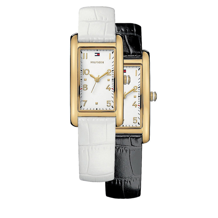 Tommy Hilfiger Ladies' Reversible Black-White Leather Strap Watch