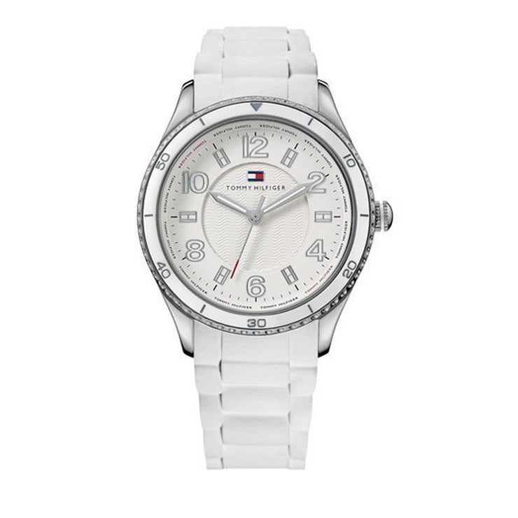 Tommy Hilfiger Ladies White Silicon Strap Watch w Round White Dial