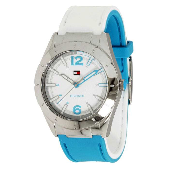 Tommy Hilfiger Ladies' Reversible Blue-White Silicone Strap Watch