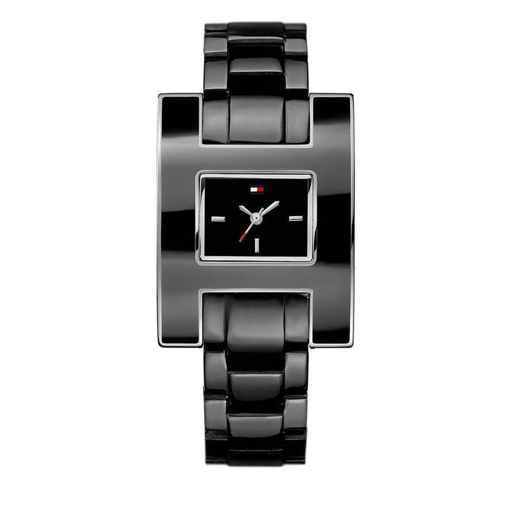 Tommy Hilfiger Watch 1781187 Black Resin Square Dial Ladies Watch