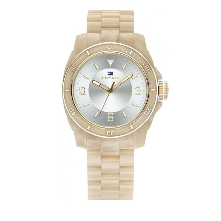 Tommy Hilfiger Ladies' Horn Acrylic Strap Watch w Round Dial