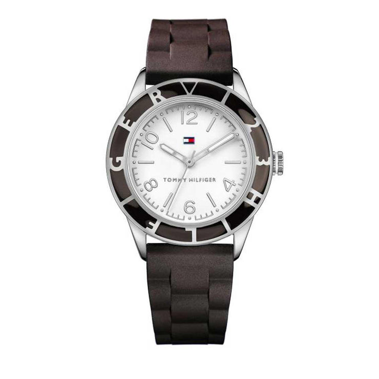 Tommy Hilfiger Ladies' Dark Brown Silicone Strap Watch w Round White Dial