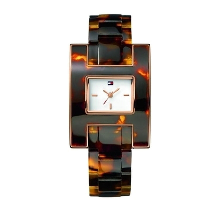 Tommy Hilfiger Ladies' Tortoise Resin Strap Watch w Square Dial