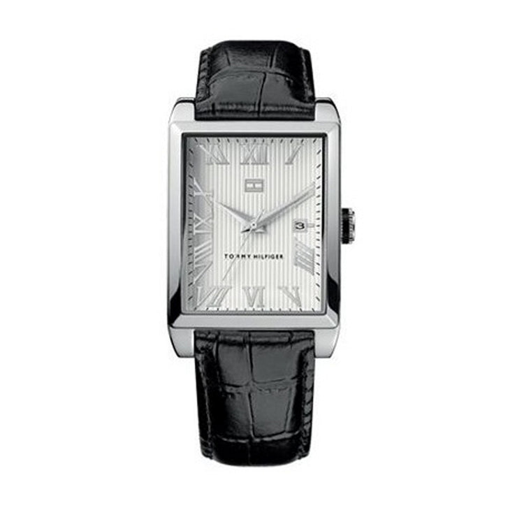 Tommy Hilfiger Men's Black Leather Watch w White Patterned Dial