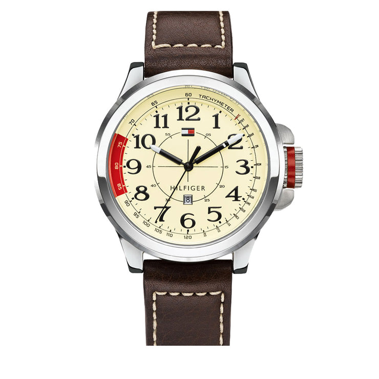Tommy Hilfiger Watch 1790844- Brown Leather Retro-Inspired Men Watch