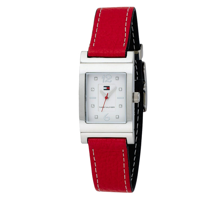 Tommy Hilfiger Ladies' Navy-Red Reversible Leather Strap Watch w Crystal Indices