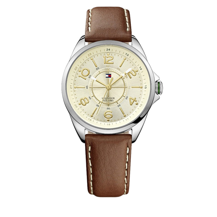 Tommy Hilfiger Ladies Brown Leather Strap Watch w Round Beige Dial