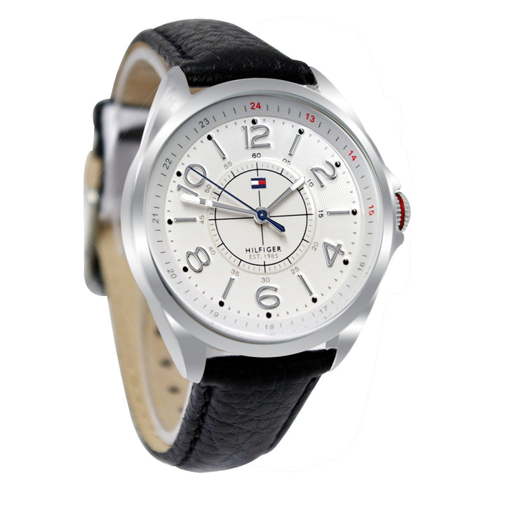 Tommy Hilfiger Ladies Black Leather Strap Watch w Round White Dial